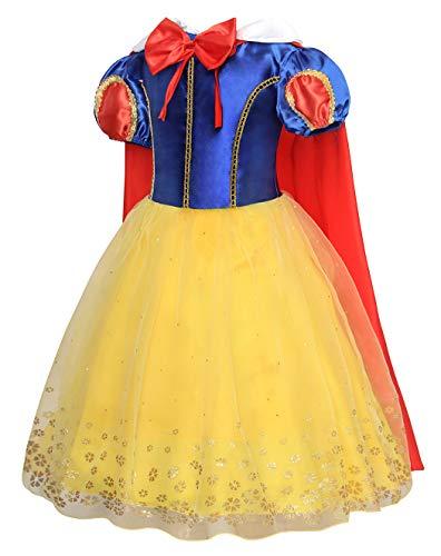 Amzbarley Disfraz Vestido Princesa Anna Traje Frozen Nina Y Capa Disfraz Bella Infantil Tutu Elegante Para Festa Blancanieves Blanca Nieve Disfraz